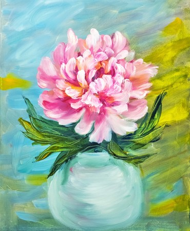 petal: Peony in vase, oil painting on canvas