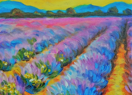 Oil painting on canvas. Modern art. Beautiful lavender field at sunset