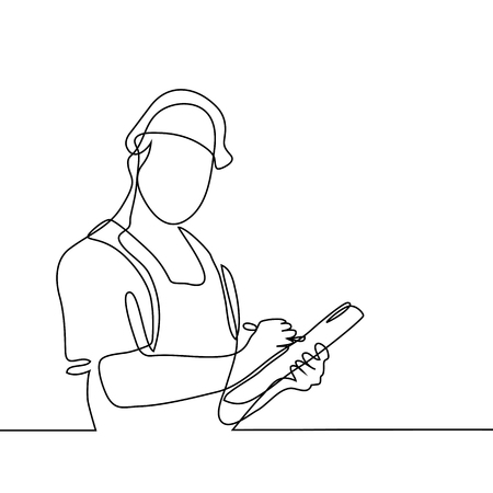 Continuous line drawing. Standing builder man holding tablet. Vector illustration on white background Vettoriali