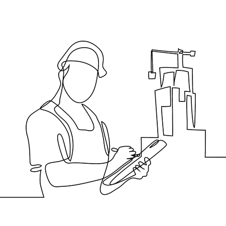 Continuous line drawing. Standing builder man holding tablet. Vector illustration on white background  イラスト・ベクター素材