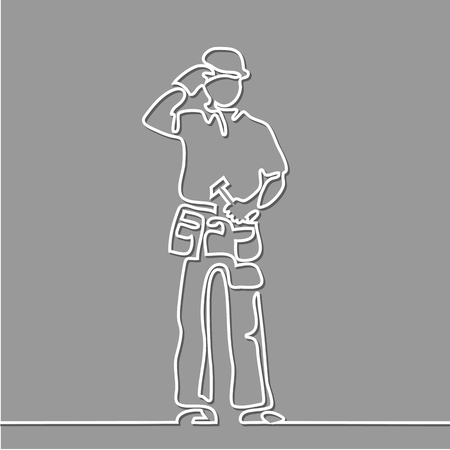 Continuous Line Drawing  Standing Builder Man Holding Hammer