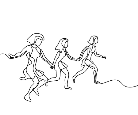 Running girls have joy in summer time. Continuous line drawing. Vector illustration on white background