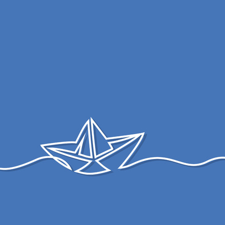 Continuous line drawing of paper boat. Business icon. Vector illustration on blue background