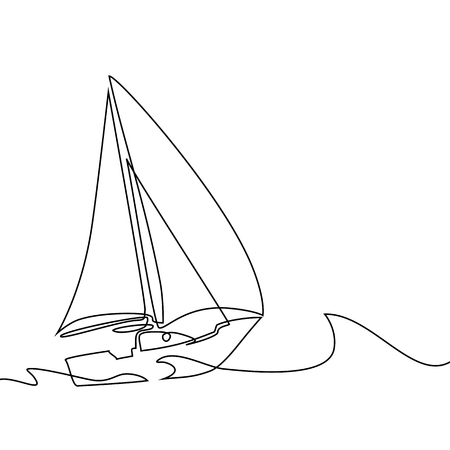 Continuous line drawing of sailboat in big waves of sea. Business icon. Vector illustration