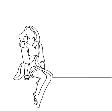 Young woman in dress sitting. Continuous line drawing. Vector illustration Stock Illustratie