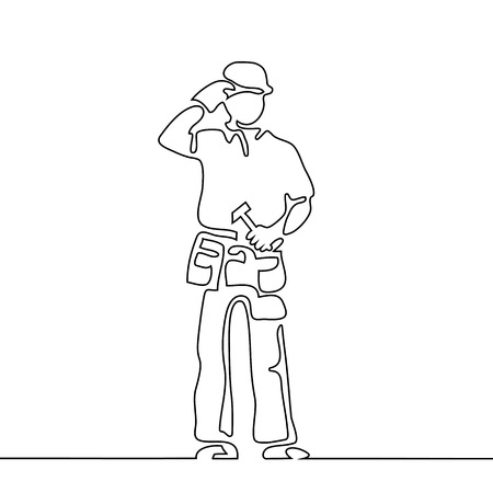 Continuous line drawing. Standing builder man holding hammer. Vector illustration on gray background Vectores