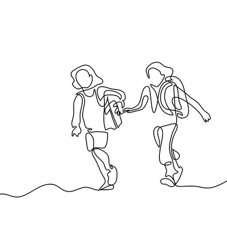 Kinder, die zurück zur Schule mit Taschen laufen. Kontinuierliche Linienzeichnung. Vektor-Illustration auf weißem Hintergrund