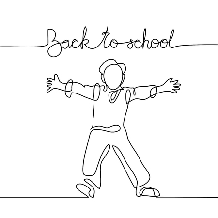 Standing school boy happy with back to school. Continuous line drawing. Vector illustration on white background