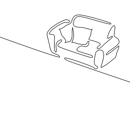 Continuous line drawing. Interior with sofa. Vector illustration on white background. Illustration