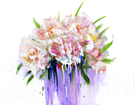Bouquet of pink flowers with paint drips. Oil painting on Canvas. Isolated on white background Stock Photo
