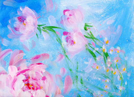 Blooming pink peonyon blue background. Oil painting on canvas