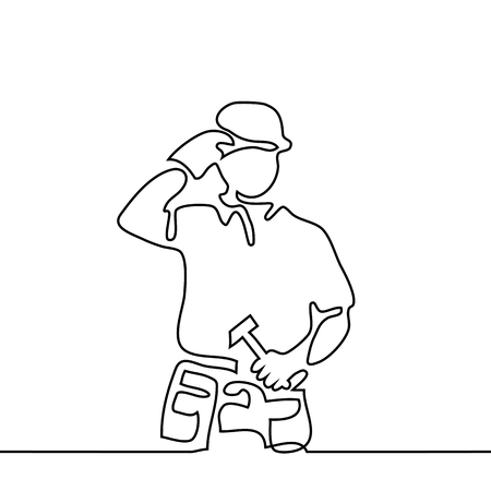 Continuous line drawing. Standing builder man holding tablet. Vector illustration on white background Stock Photo