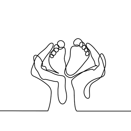 Hands holding baby foot - protection symbol. Continuous line drawing. Vector illustration on white background