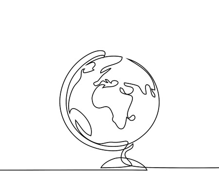 School globe of earth. Continuous line drawing. Vector illustration on white background Stok Fotoğraf