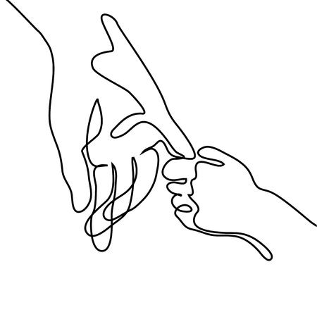 Baby holding little finger of adult hands together. Continuous line drawing. Vector illustration on white background