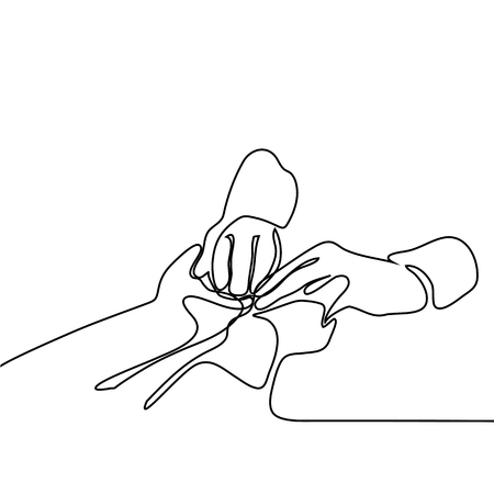 People, age, family, care and support concept - women holding hands. Continuous line drawing. Vector illustration on white background 스톡 콘텐츠