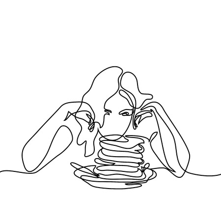 Abstract portrait of Beautiful young woman looking at pancakes on table. Continuous line drawing. Vector illustration on white background Stock Photo