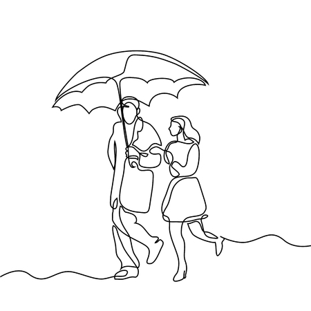 Couple walking under umbrella. Continuous line drawing. Vector illustration on white background Stock Photo