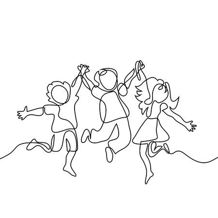 Felices los niños saltando manos de la mano. Dibujo lineal continuo. Ilustración vectorial sobre fondo blanco Ilustración de vector