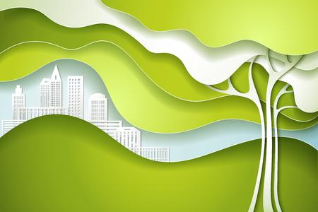 creative: Paper cut art design style. Green tree. Eco nature concept city. Vector illustration Illustration