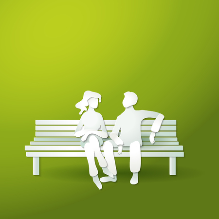 Paper cut art style. Couple man and woman sitting on the bench. Romantic outdoor for honeymoon. Vector illustration.