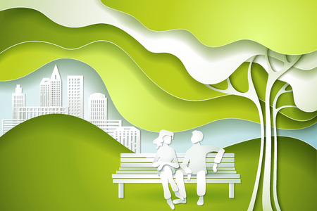 Paper cut art design style. Green tree and family. Eco nature concept city. Vector illustration Illustration