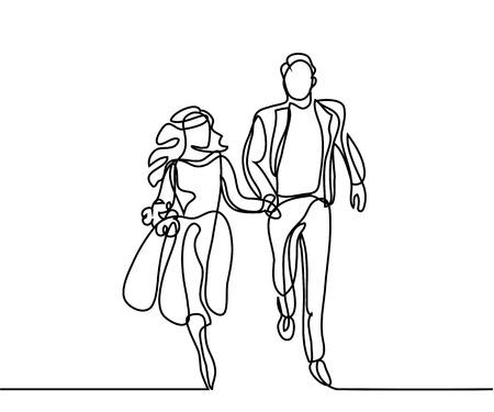 Happy running couple illustration