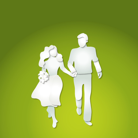 Paper cut art style. Couple man and woman with flowers walking.
