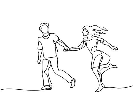 Happy running couple. Continuous line drawing.
