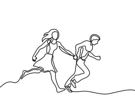 Happy running couple. Continuous line drawing. Vector illustration on white background
