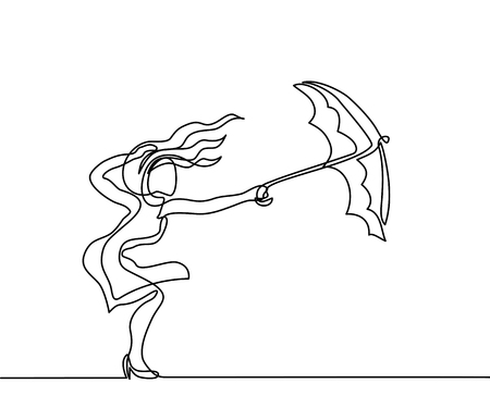 sketch: Woman keeping umbrella from wind weather. Continuous line drawing. Vector illustration.