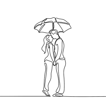 Romantic young couple kissing under umbrella. 向量圖像