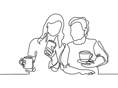 Continuous line drawing. Young woman showing smartphone to her old grandmother and drinking coffee or tea. Vector illustration