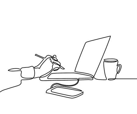 Dibujo lineal continuo. Ordenador portátil con taza de café y mano con lápiz, teléfono. Ilustración vectorial