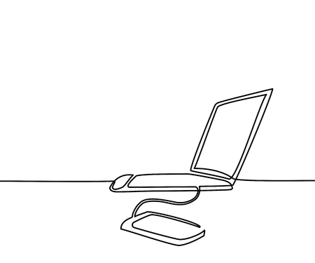 Continuous line drawing. Laptop computer with phone transfer data. Vector illustration