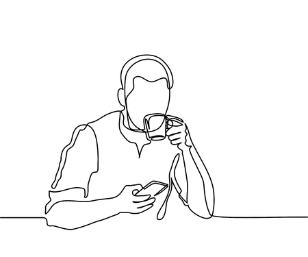 Young man browsing cell phone and drinking coffee. Continuous line drawing. Vector illustration
