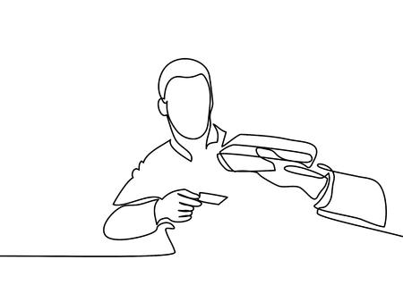 Man creditcard invoeren in veegmachine. Continu lijntekening. Vector illustratie