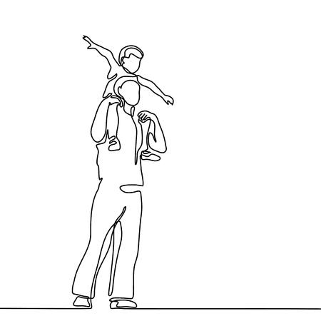 Illustrazione di vettore del disegno a tratteggio continuo. Padre con figlio sulla silhouette di spalle. Archivio Fotografico - 81784014