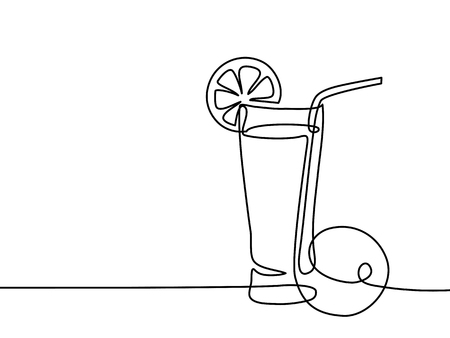 Continuous line drawing. Lemonade in a glass with lemon and orange. Vector illustration black line on white background.