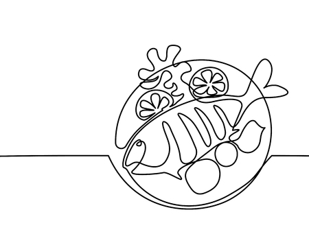 dorado: Continuous line drawing. Grilled fish on plate with lemon and potato. Vector illustration black line on white background.