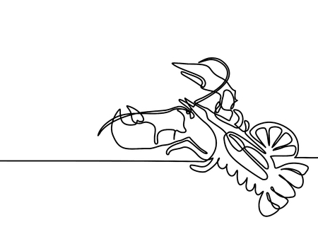 Continuous line drawing. Grilled lobster. Vector illustration black line on white background. Illustration