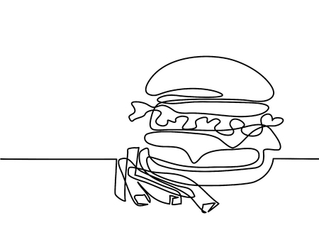 Continuous line drawing. Big Hamburger with French fries Fast food. Vector illustration black line on white background.