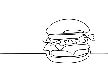 Continuous line drawing. Big Hamburger Fast food. Vector illustration black line on white background.