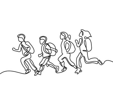 Kids running back to school with bags. Continuous line drawing. Vector illustration on white background