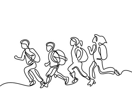 Kinderen lopen terug naar school met tassen. Continu lijntekening. Vectorillustratie op witte achtergrond Stock Illustratie