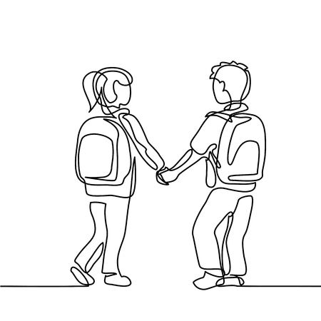 Boy and girl going back to school with bags. Continuous line drawing. Vector illustration on white background