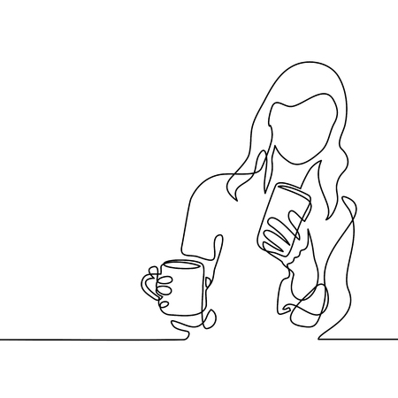 Continuous line drawing. Young woman looking smart phone and drinking coffee or tea. Vector illustration Vectores