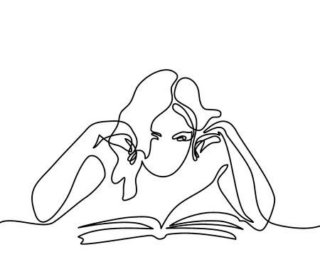 Continuous line drawing. Young woman reading book. Vector illustration