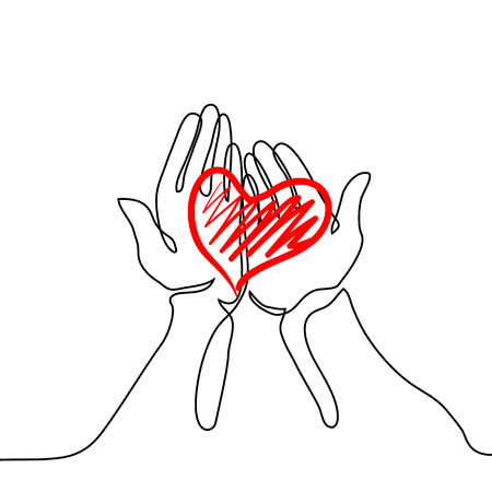 Hands holding a heart. Continuous line drawing. Vector illustration Illustration
