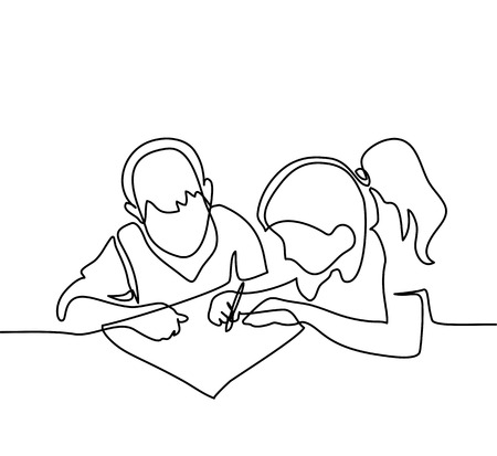 Boy and girl drawing on paper. Back to school concept. Continuous line drawing. Vector illustration on white background